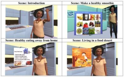 Virtual avatar coaching with community context for adult-child dyads